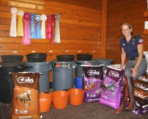 Liz Halliday-Sharp in her feed room